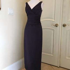 David's Bridal plum color satin gown
